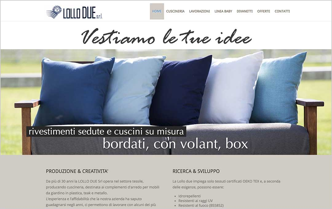 Homepage sito web Lollo Due