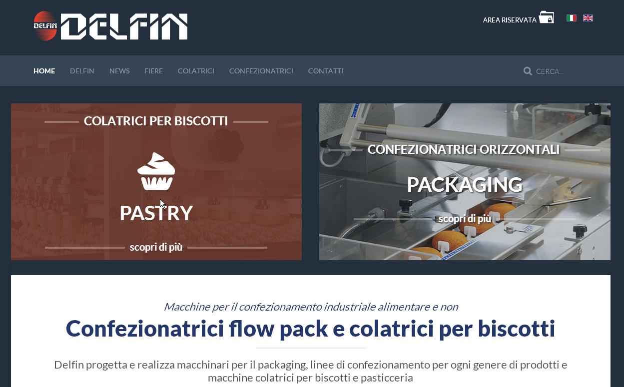 Homepage sito web aziendale Delfin