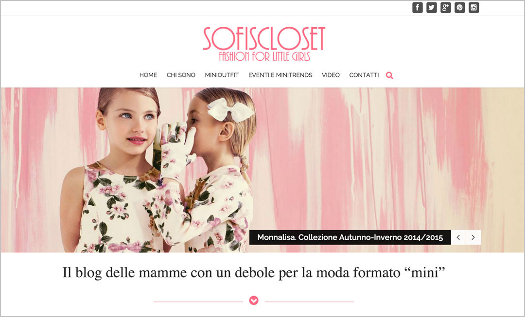 Homepage sito web Sofiscloset Blog