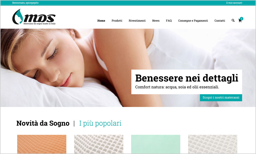 Homepage ecommerce Materassidasogno.it
