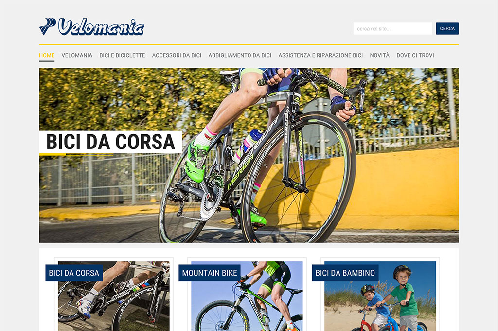 Homepage sito web Velomania bike