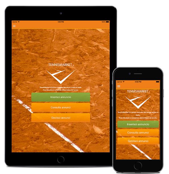 Realizzazione App Tennismarket schermata iniziale