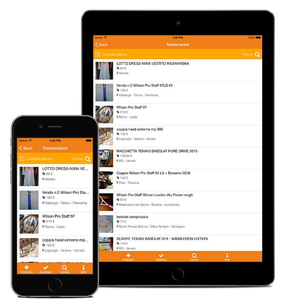 App Tennismarket ricerca attrezzatura