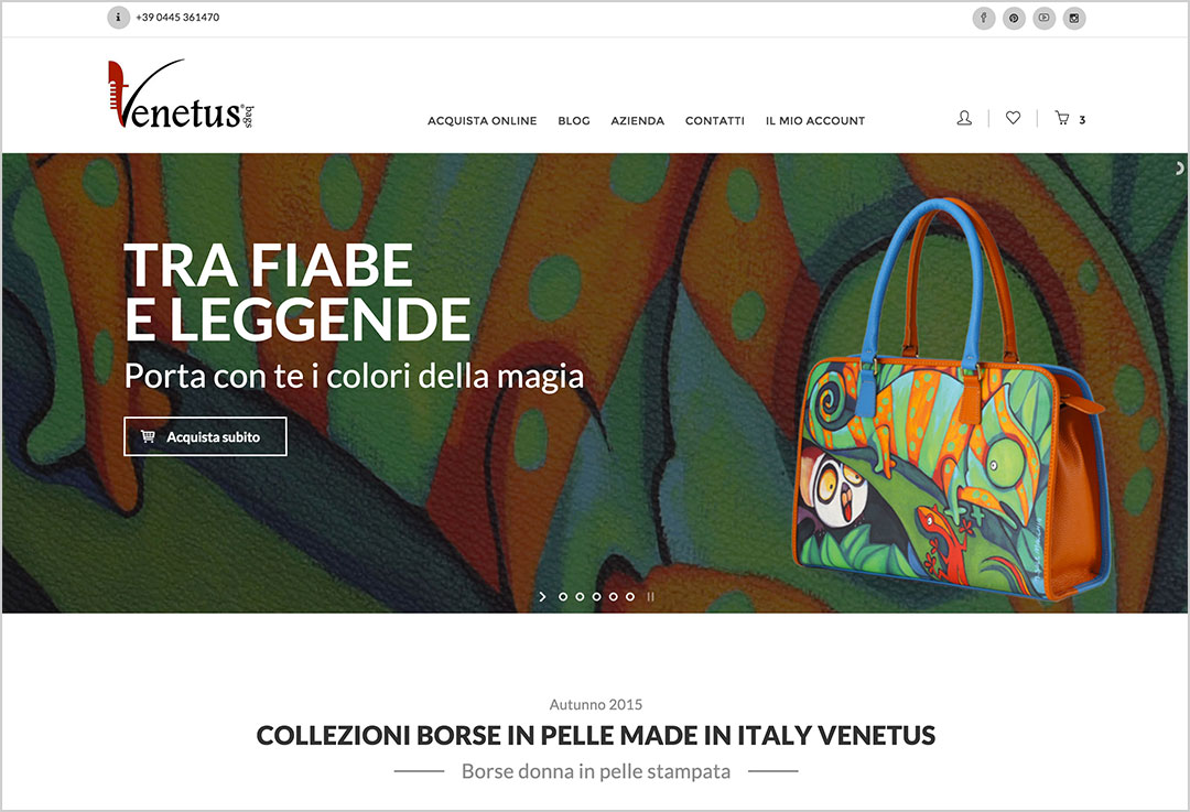 Homepage e-commerce Venetus
