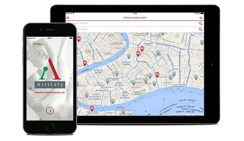 Splash e pagina di ricerca app Artitaly