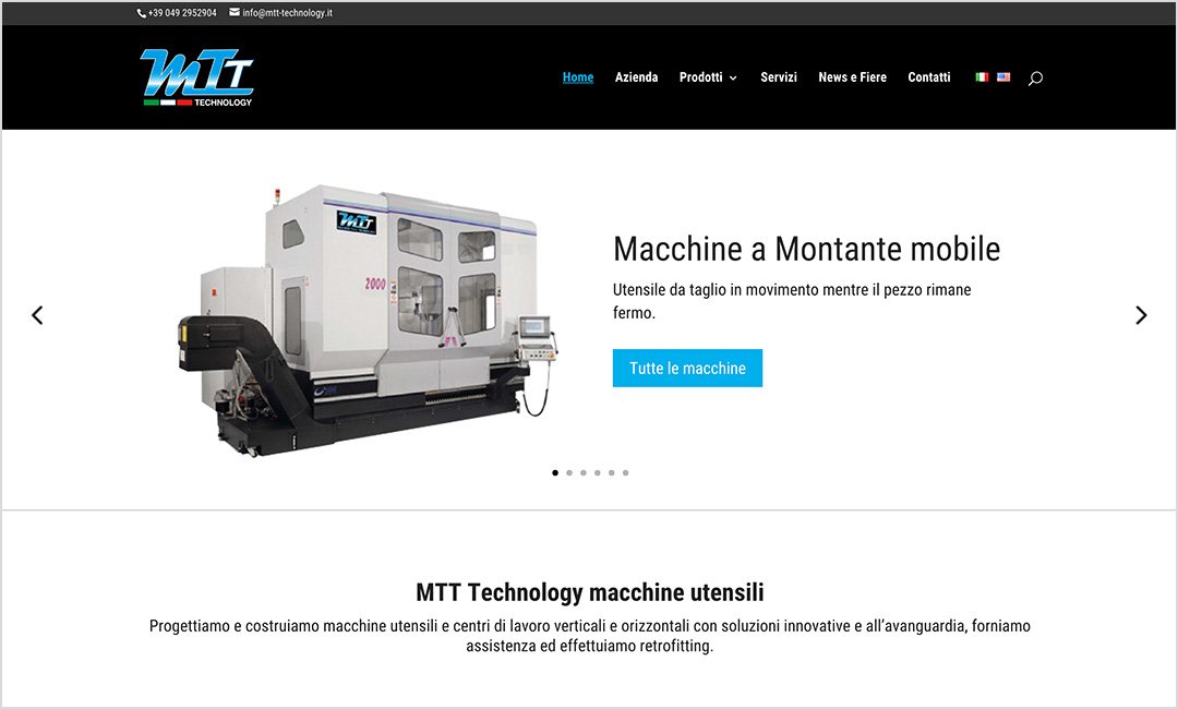 Homepage sito web MTT Technology