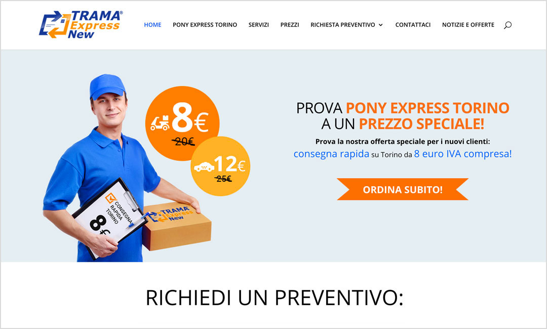 Homepage sito web Ponyexpresstorino.it