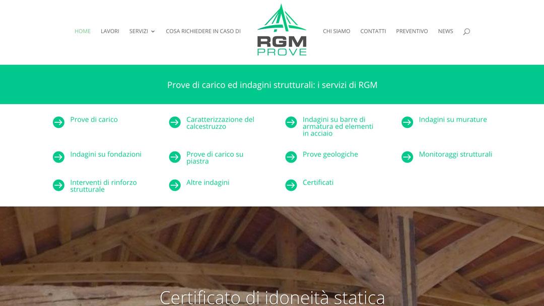 Homepage sito web delle prove di carico di RGM
