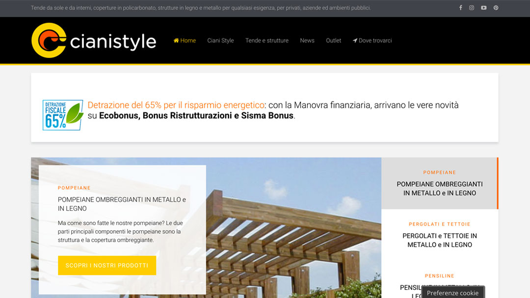 Cianistyle.com sito web homepage