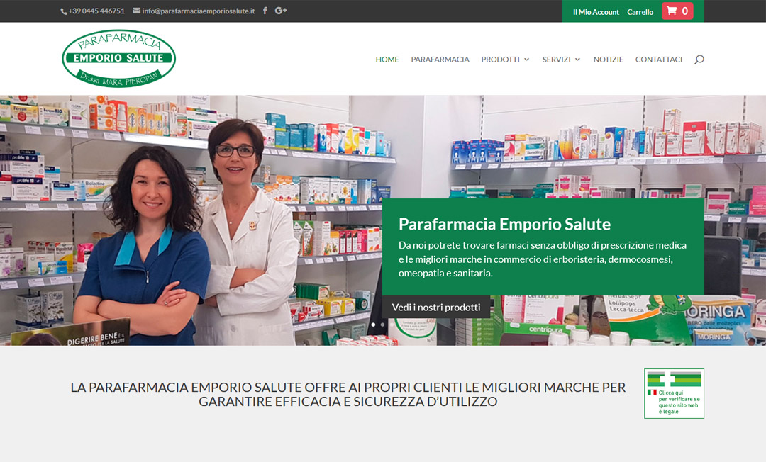 Homepage ecommerce Parafarmaciaemporiosalute.it