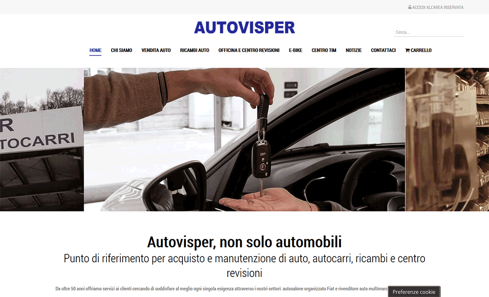 Homepage ecommerce Autovisper.it